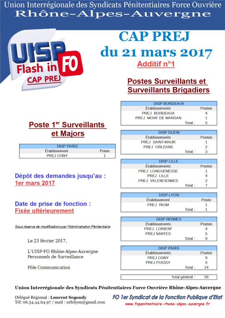 CAP PREJ 21 mars - UISP-FO Rhône-Alpes-Auvergne
