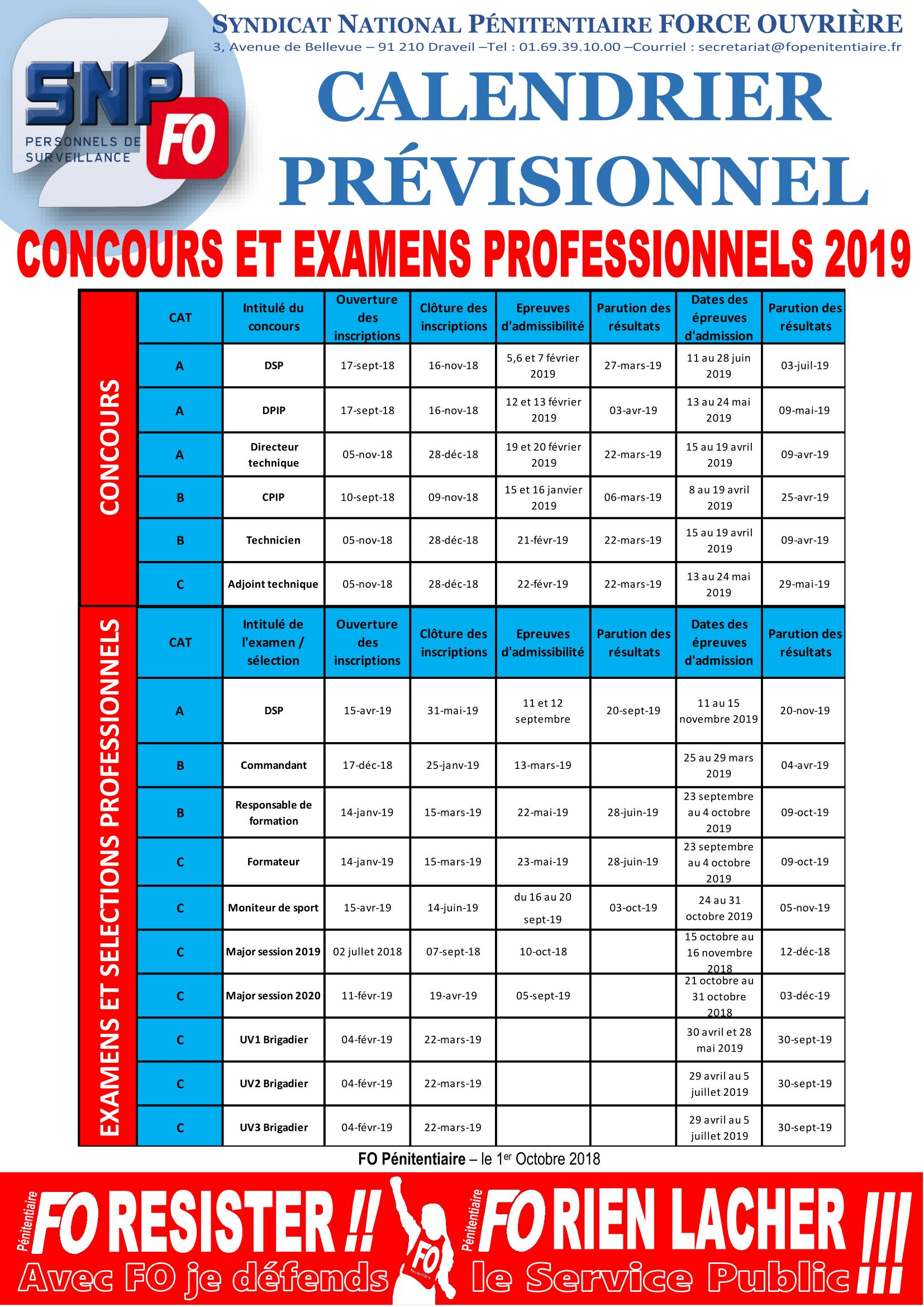 20181001 - Communiqué National - Calendrier prévisionnel des concours et examens professionnels 2019-1