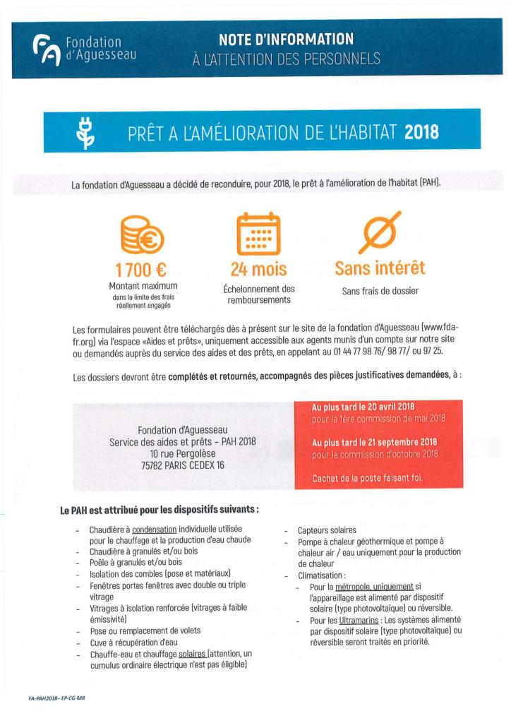 Note d'information Fondation d'Aguesseau 2018-1