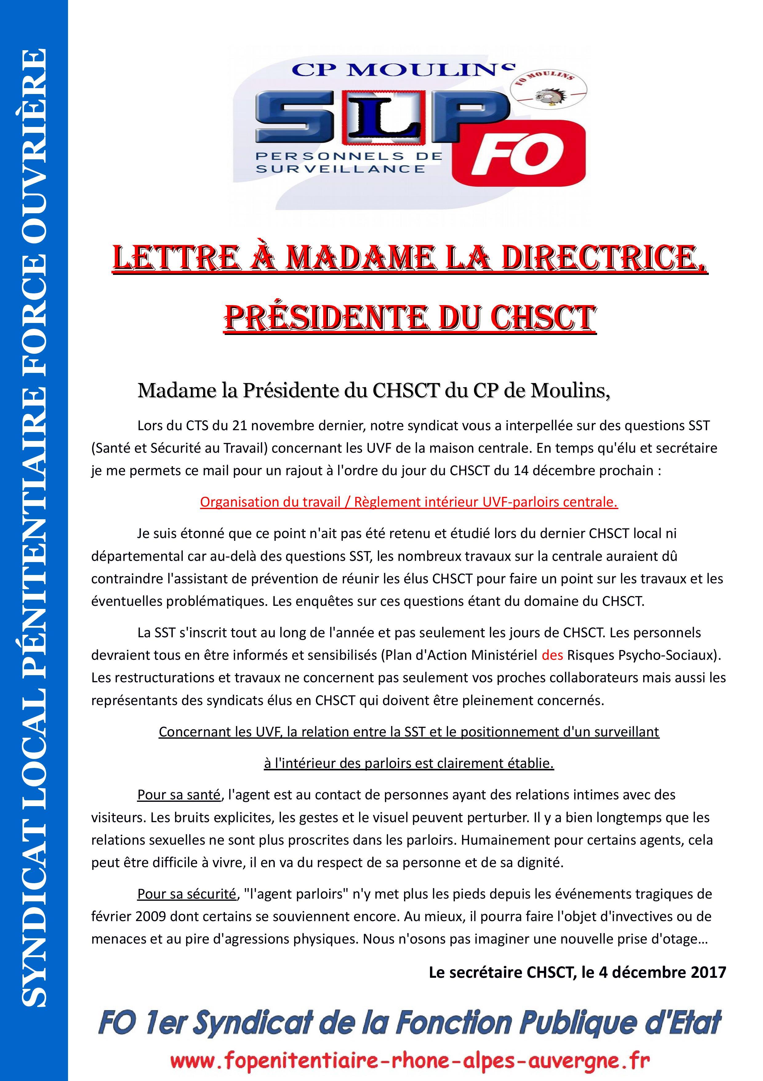 Lettre à Madame la Directrice, présidente du CHSCT-page-001