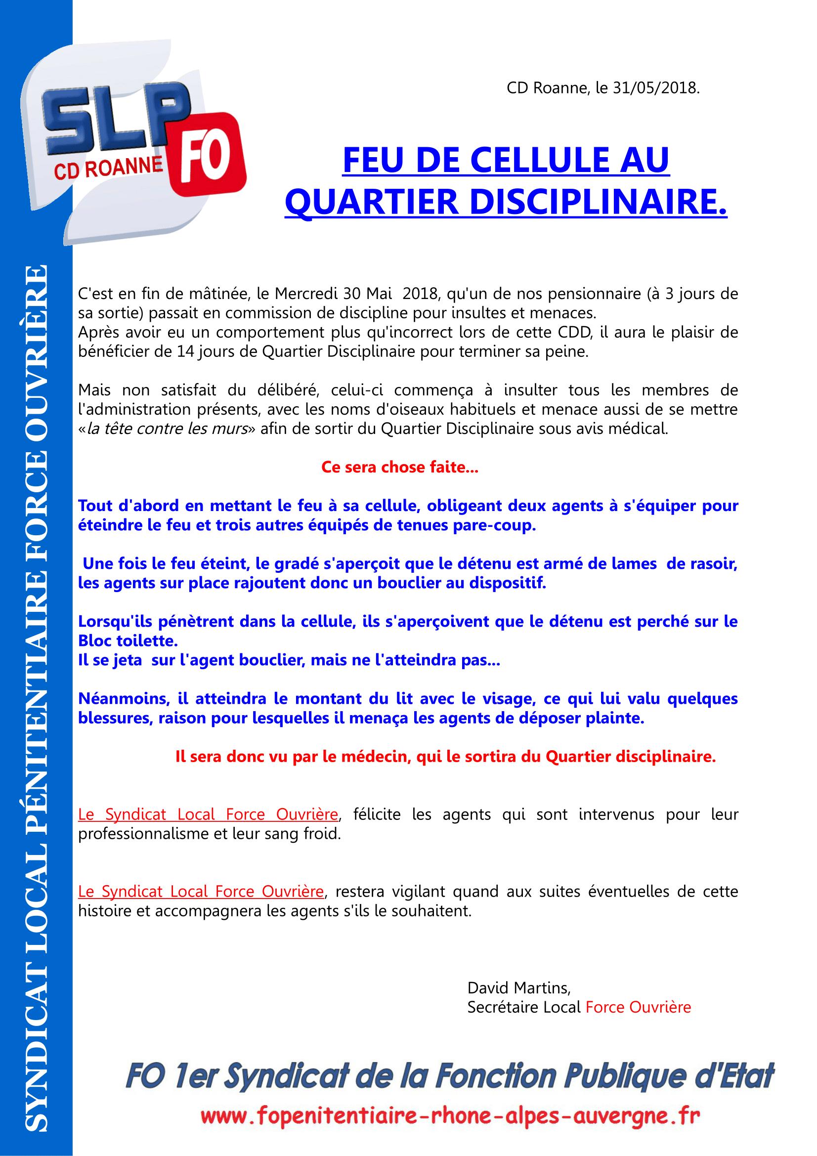 Feu de cellule au Quartier Disciplinaire -1