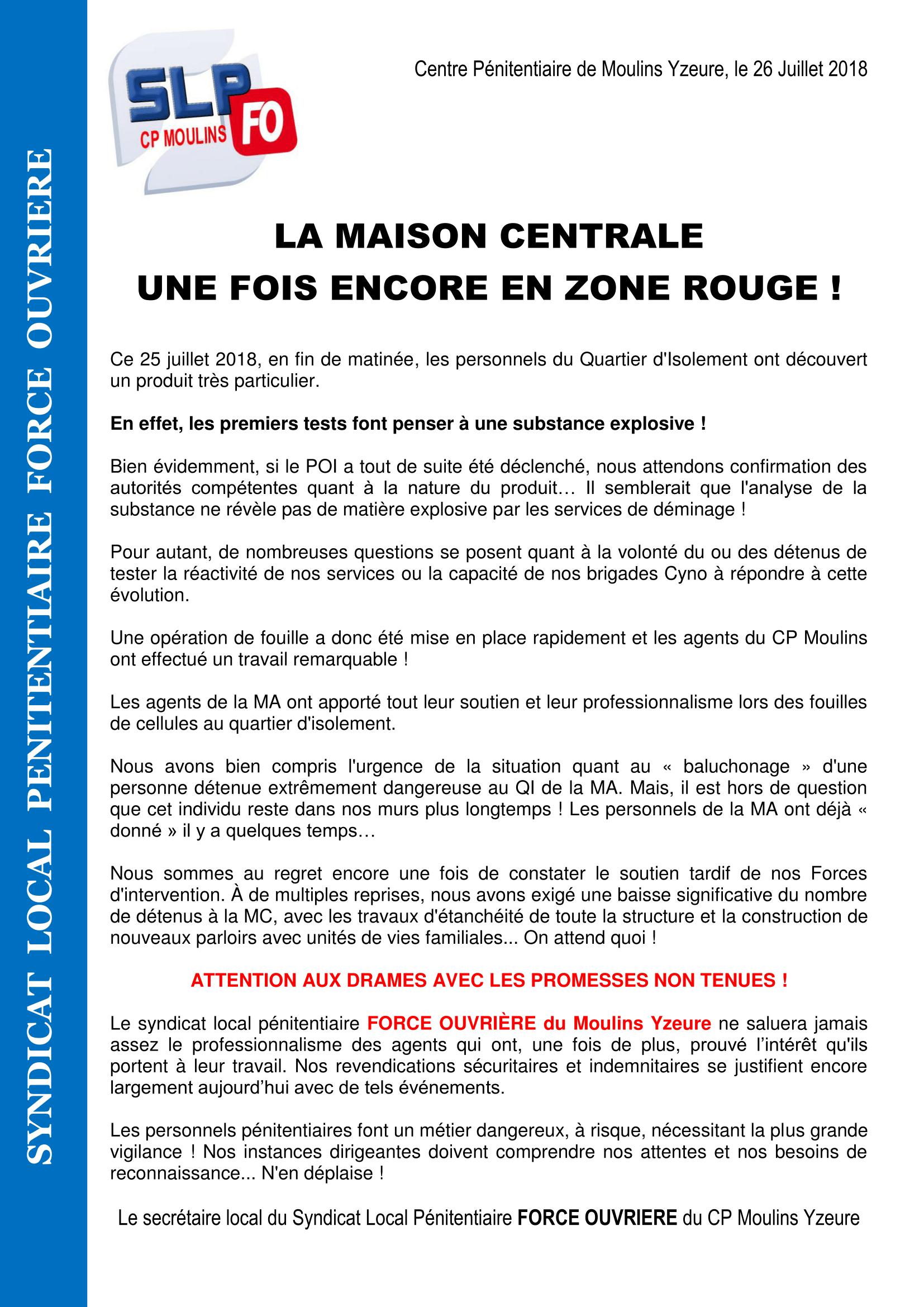 Communiqué SLP-FO Moulins Une fois encore en zone Rouge-1