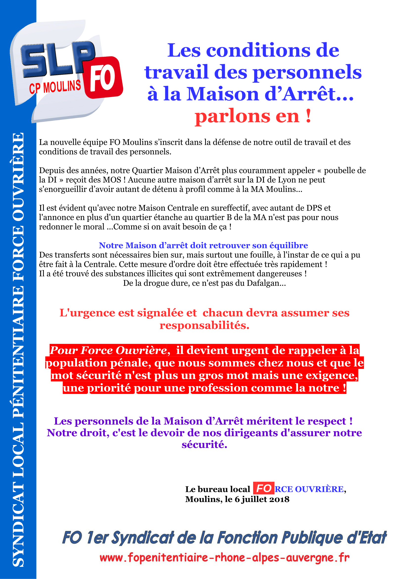 Tract CP Moulins - conditions de travail en MA-1
