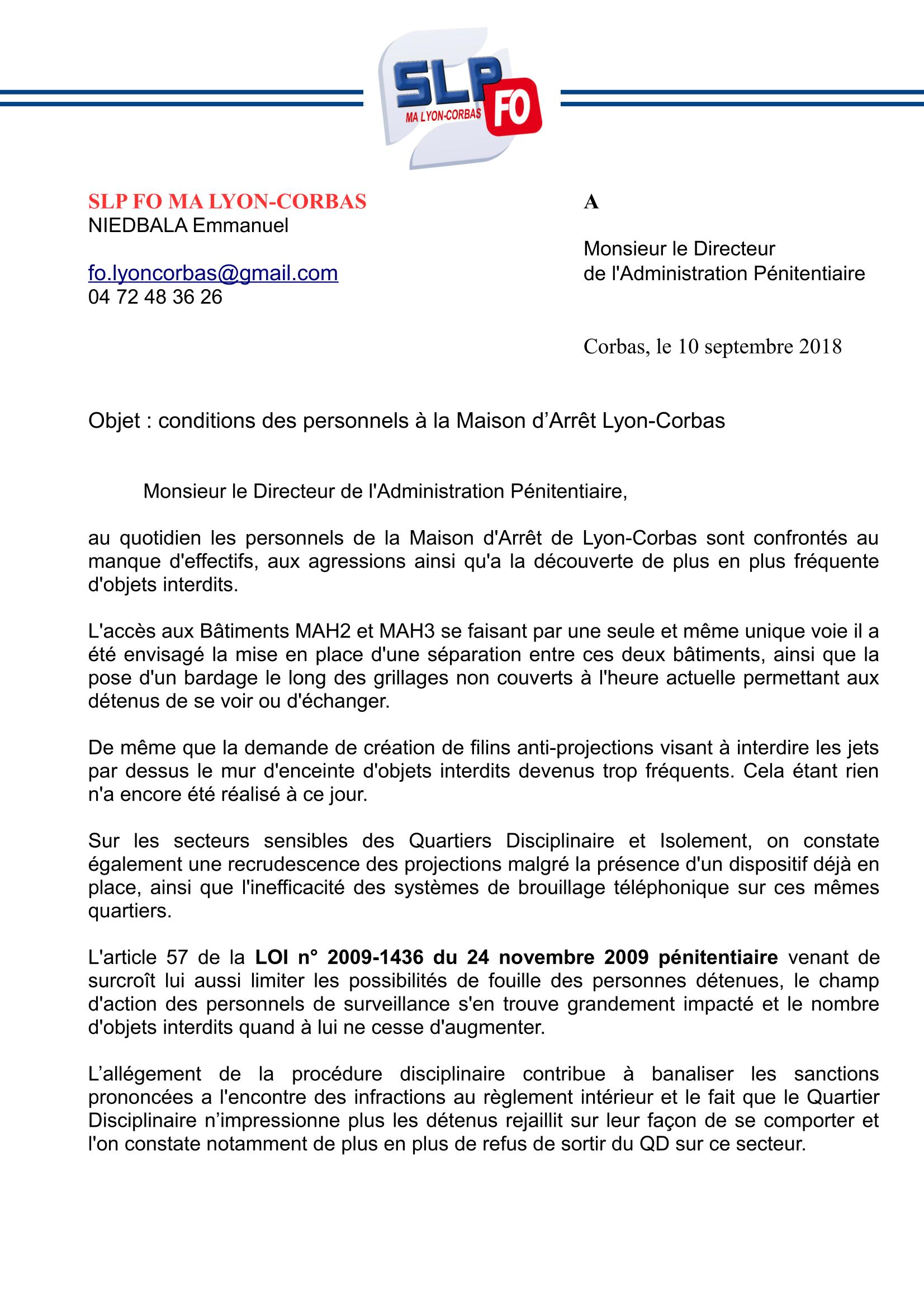 Courrier DAP SLPFO MA LYON CORBAS-1