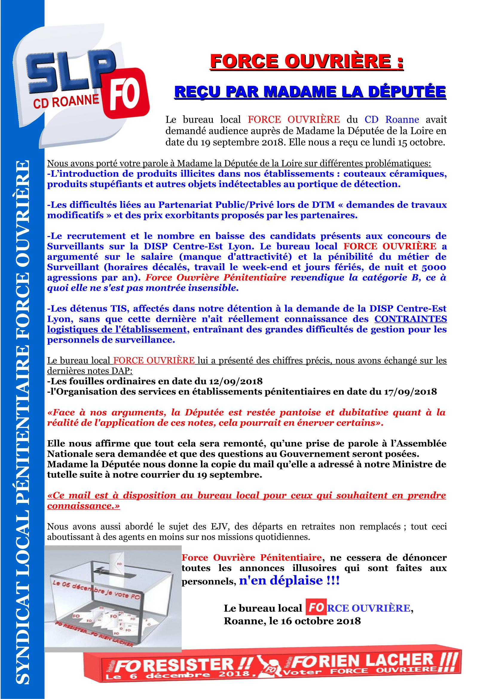FO reçu par la Députée de la Loire-1