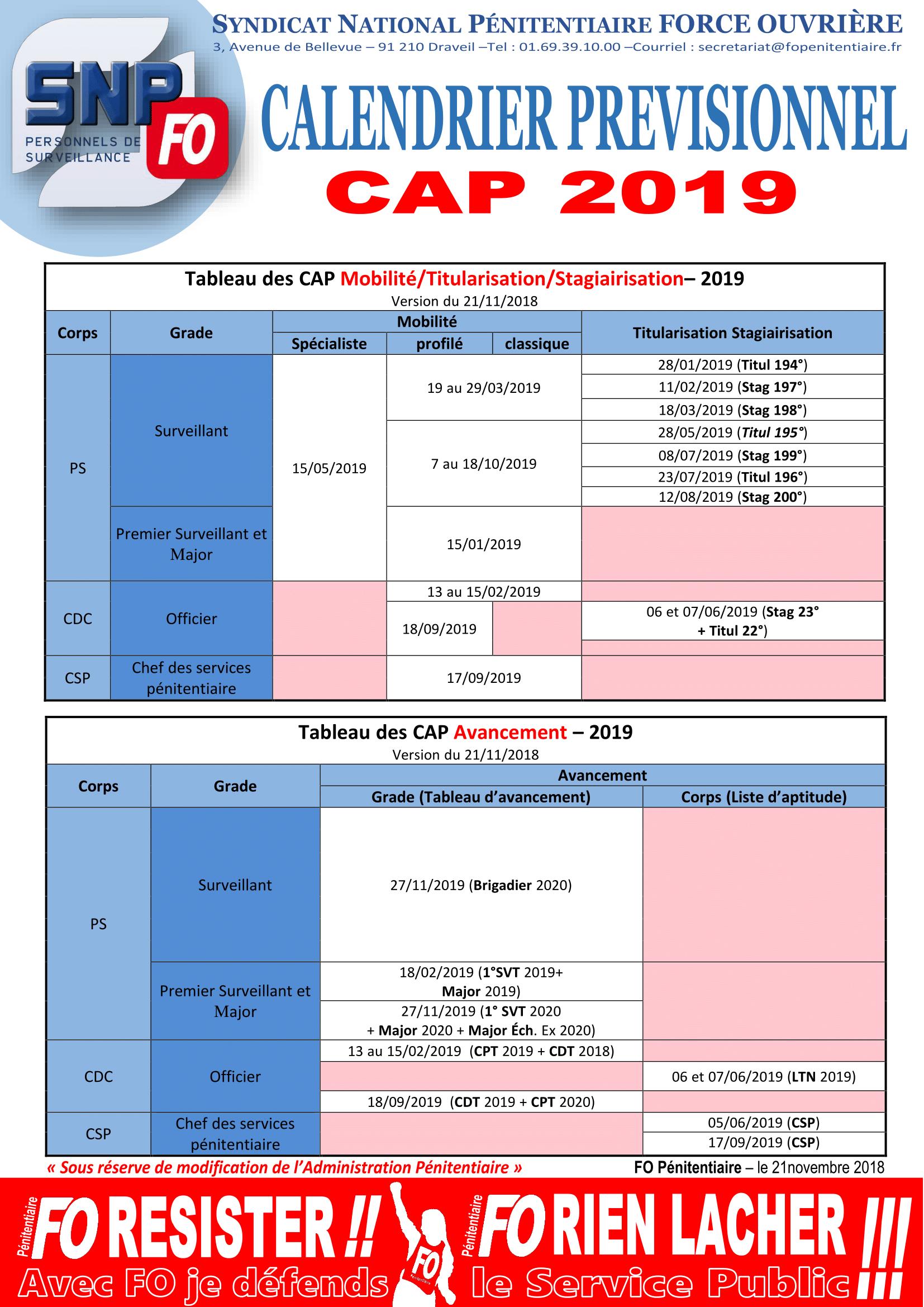 Calendrier CAP – FO Pénitentiaire – UISP Rhône Alpes Auvergne