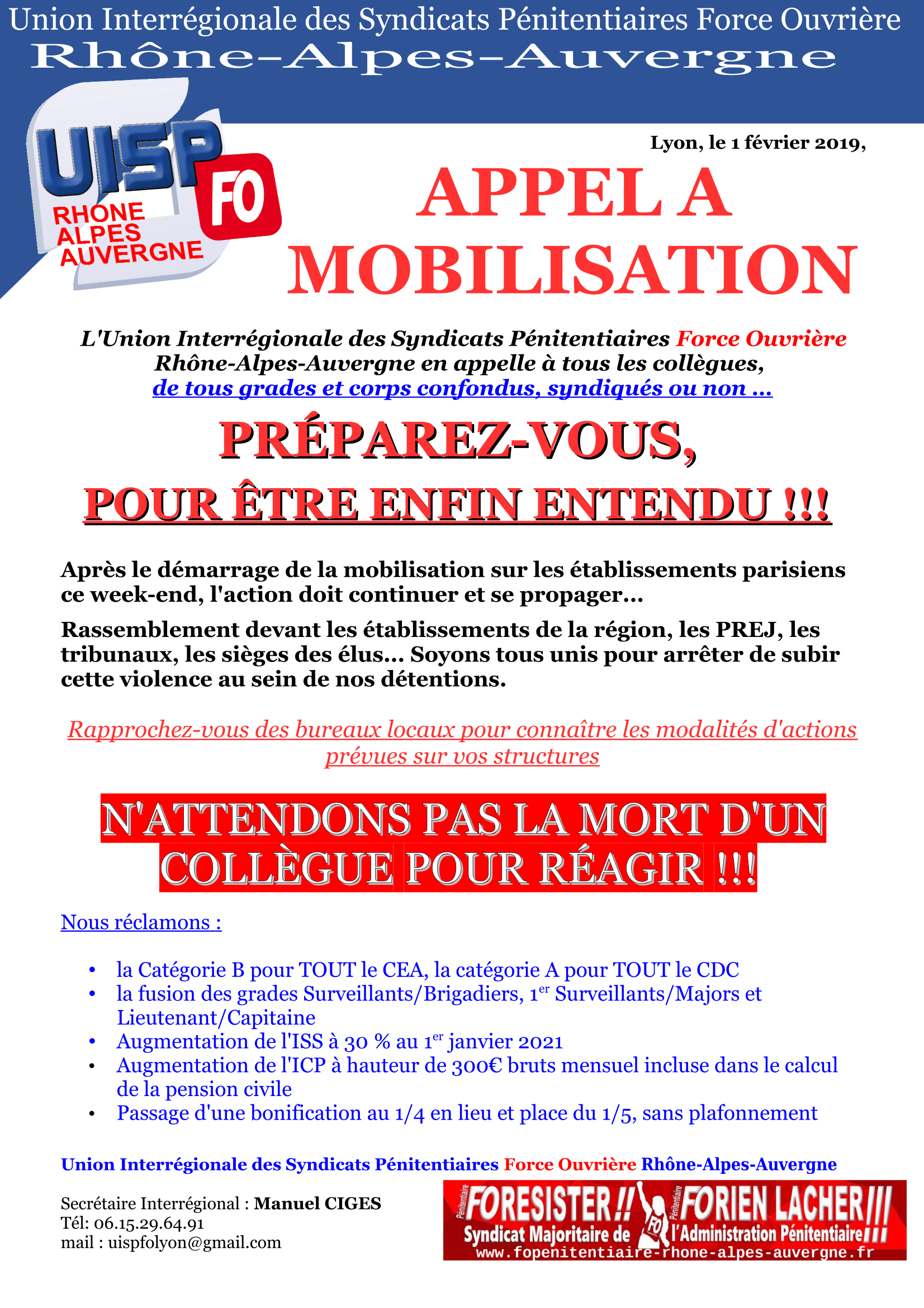 UISP FO LYON APPEL A MOBILISATION